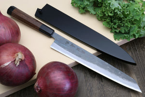Yoshihiro Mizu Yaki Black Finish Blue steel #1 Kurouchi Sujihiki Kiritsuke Slicer Chef knife with Rosewood