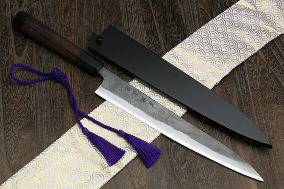 Yoshihiro Mizu Yaki Aogami Super Blue High Carbon Kurouchi Sujihiki Slicer Chef knife with Rosewood Handle