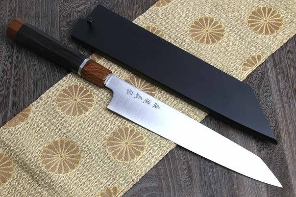 Yoshihiro ZDP-189 High Carbon Stainless Steel Utility Kiritsuke Slicer Knife Ebony Handle with Sterling Silver Ring and Nuri Saya