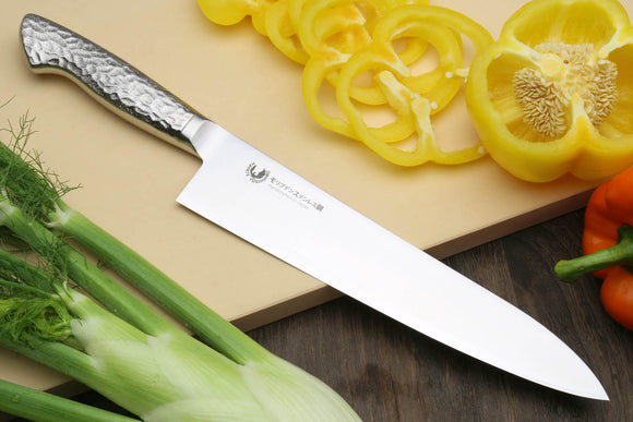 Yoshihiro Hayate Inox Aus-8 Gyuto Japanese Chefs Knife Integrated Stainless Handle