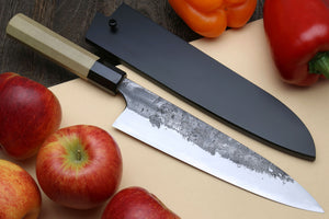 Yoshihiro Nashiji High Carbon White Steel #2 Gyuto Japanese Chefs Knife with Magnolia Handle