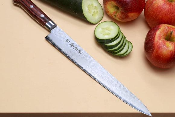 Yoshihiro VG-10 16 Layer Hammered Damascus Stainless Steel Sujihiki Slicer Chefs knife 9.5
