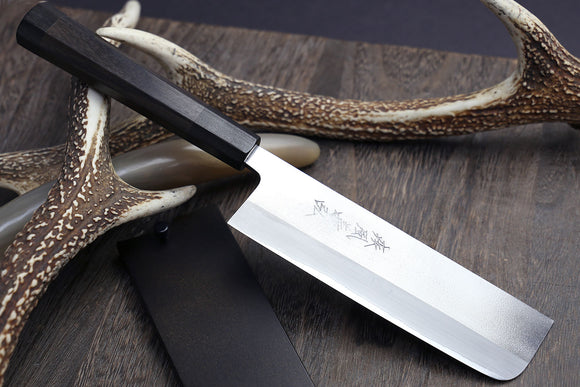 Yoshihiro Blue Steel Nakiri Vegetable Chefs knife with Stainless steel Cladding and Rosewood Handle with Nuri Saya