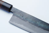 Yoshihiro Mizu Yaki Blue Steel #2 Kurouchi Gyuto Japanese Chefs knife (Round Shape Shitan Handle) with Nuri Saya