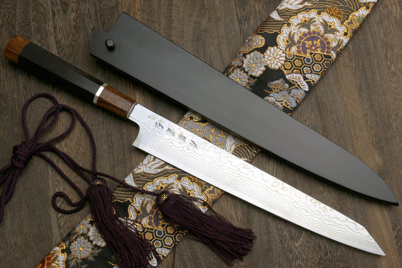 Yoshihiro Hayate ZDP-189 Super High Carbon Stainless Steel Suminagashi Damascus Sujihiki Kiritsuke Slicer Knife Ebony Handle with Sterling Silver Ring