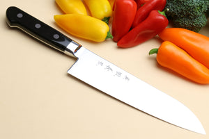 Yoshihiro High Speed Steel Santoku 7'' (180mm) Multipurpose Chefs Knife (Black Pakkawood Handle)