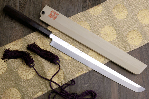 Yoshihiro Mizu Yaki Honyaki Aoko Blue Steel Mirror Polished Sakimaru Takobiki Sushi Knife Ebony Handle