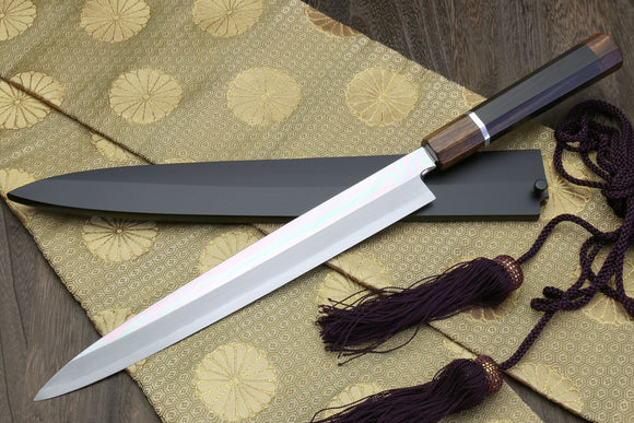 Yoshihiro Left-Handed Ginsanko Mirror Polished Stain Resistant Steel Yanagi Sushi Sashimi Japanese Knife Ebony Handle with Silver Ring