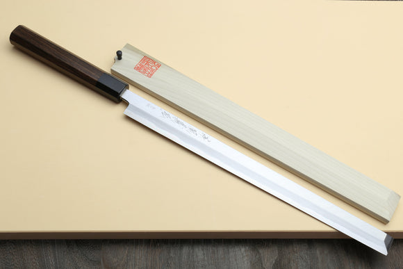 Yoshihiro Hongasumi Blue Steel Takobiki Sushi Sashimi Slicing Japanese Chef Knife, Rosewood Handle