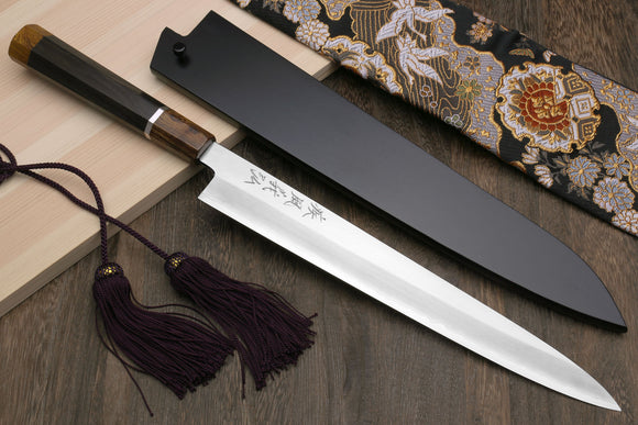 Yoshihiro Hiryu Ginsan High Carbon Stainless Steel Sujihiki Slicer Knife Silver Ring Ebony Handle with Nuri Saya Cover