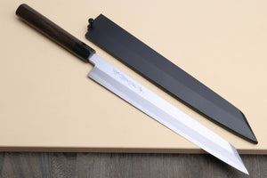Yoshihiro Hongasumi White Steel Yanagi-Kiritsuke Sushi Sashimi Japanese Knife Rosewood Handle with Nuri Saya Cover