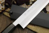 Yoshihiro High Speed Stainless Steel HAP40 Yanagi Kiritsuke Sashimi Knife Ebony Handle with Nuri Saya
