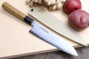Yoshihiro VG-10 46 Layers Hammered Damascus Santoku Knife Japanese Multipurpose Chef Knife (Octagonal Ambrosia Handle)