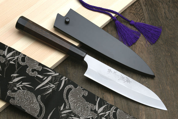 Yoshihiro Blue Steel Petty Utility Knife Stainless Steel Cladding and Rosewood Handle with Nuri Saya Cover