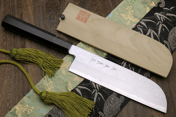 Yoshihiro Suminagashi Blue Steel #1 Kama Usuba Traditional Japanese vegetable Chopping Chef Knife, Ebony Wood Handle