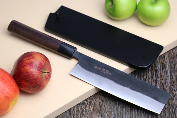 Yoshihiro Black Finish Blue Steel #2 Kurouchi Nakiri Traditional Japanese Vegetable Chopping Chef Knife 6.5
