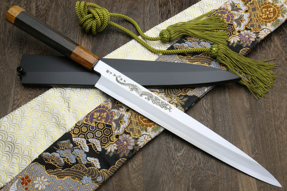 Yoshihiro Aonamiuchi Blue Steel #1 Yanagi Sushi Sashimi Japanese Knife Ryu Dragon Ebony Handle