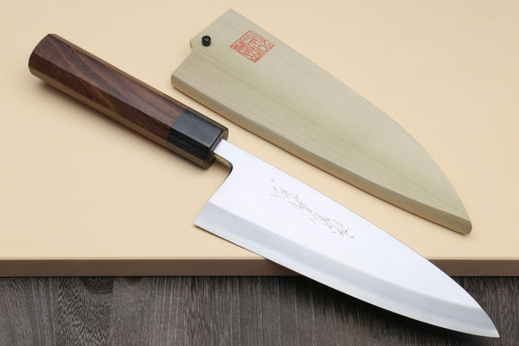 Yoshihiro Mizu Yaki Ginsanko High Carbon Stain Resistant Deba Fish Fillet Knife Shitan Rosewood Handle Single Bolster