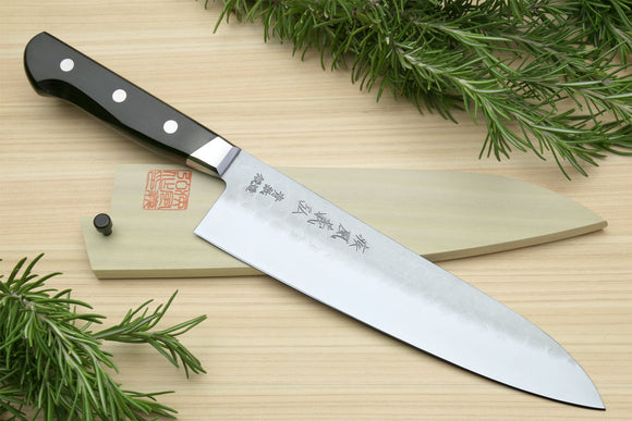 Yoshihiro Aoko Blue Steel Stainless Clad Gyuto Japanese Knife 8.25'' (210mm) Black Pakkawood Handle