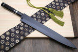 Yoshihiro Honyaki Aoko Blue Steel Mirror Finished Yanagi Sushi Sashimi Japanese knife with Triple Nickel Silver Ring Ebony Handle