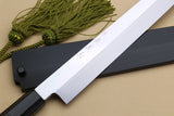 Yoshihiro Honyaki Aoko Blue Steel Mirror Finished Yanagi Kiritsuke Sushi Sashimi Japanese knife with Sword Tip Premium Ebony Handle