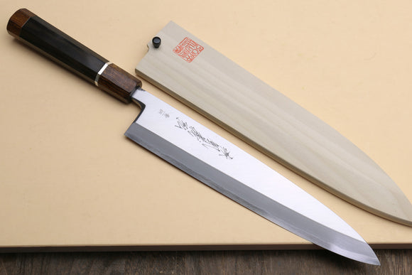 Yoshihiro Aonamiuchi Blue Steel #1 Mioroshi Filet Sushi Sashimi Japanese Chef Knife Ebony Handle With Silver Ring