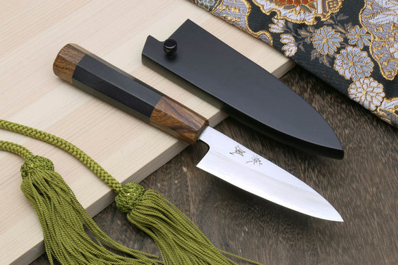 Yoshihiro Hiryu Ginsan High Carbon Stainless Steel Paring Utility Knife Ebony Handle with Nuri Saya Cover