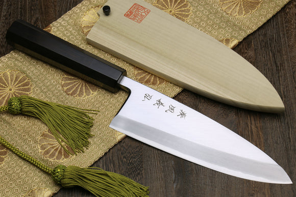 Yoshihiro Mizu Yaki Ginsanko High Carbon Stain Resistant Deba Fish Fillet Knife Ebony Handle