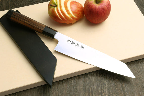 Yoshihiro Hayate Series Ginsan High Carbon Stainless Steel Kiritsuke Multipurpose Chefs Knife Rosewood Handle with Nuri Saya Cover