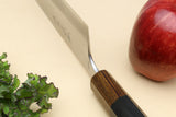Yoshihiro High Speed Stainless Steel HAP40 Santoku Multipurpose Chefs Knife Natural Ebony Handle