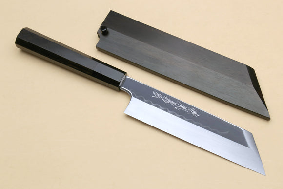 Yoshihiro Honyaki White Steel Mirror-Finished Namiukashi Kenmuki Japanese Single Edged Vegetable Knife with Premium Ebony Saya Cover