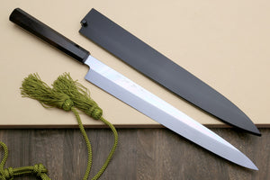 Yoshihiro Honyaki White Steel Mirror-Finished Yanagi Ebony Handle