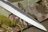 Yoshihiro Mizu Honyaki White Steel Mirror-Finished Namiukashi Yanagi Ebony Handle