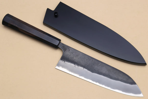 Yoshihiro Blue High Carbon Steel #1 Masashi Kurouchi Series Santoku Japanese Multipurpose Knife with Shitan Wood Handle