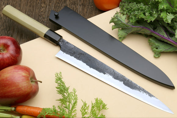 Yoshihiro Nashiji High Carbon White Steel #2 Sujihiki Japanese Slicer Knife with Magnolia Handle