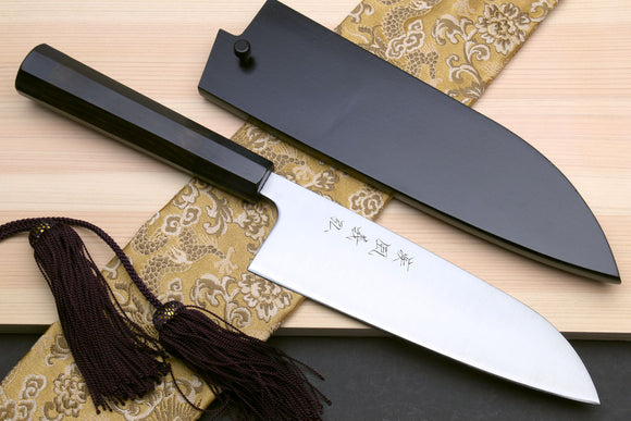 Yoshihiro Blue Steel Super Santoku Multipurpose Knife with Stainless Steel Cladding (Ebony Handle)