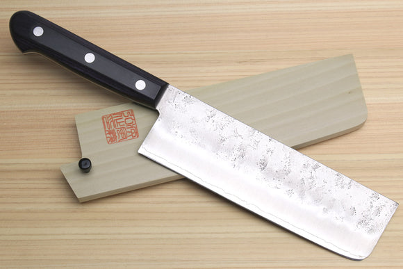 Yoshihiro Stainless Clad Nashiji Ginsan High Carbon Stain Resistant Steel Nakiri Vegetable Knife