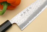Yoshihiro Hammered Super Blue Steel Stainless Clad Santoku Multipurpose Chef Knife with Ebony Handle