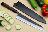 Yoshihiro Kurouchi Super Blue Steel Stainless Clad Gyuto Multipurpose Japanese Chef Knife with Ebony Handle