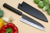 Yoshihiro Kurouchi Super Blue Steel Stainless Clad Santoku Multipurpose Chef Knife with Ebony Handle