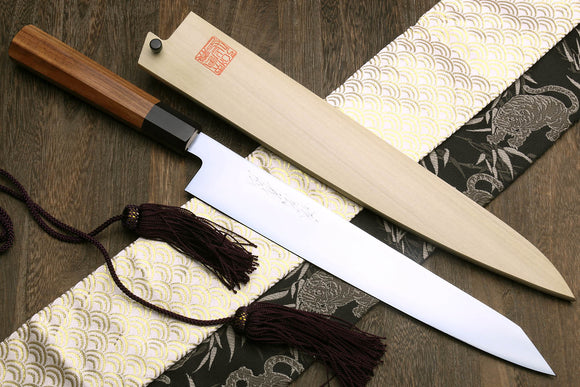 Yoshihiro VG-1 Gold Stainless Steel Sujihiki Kiritsuke Japanese Slicer Chefs Knife Shitan Handle
