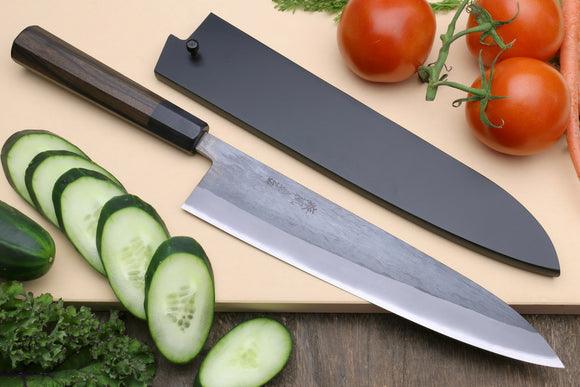 Yoshihiro Kurouchi Black-Forged Blue Steel Stainless Clad Gyuto Chefs Knife (Shitan Handle)