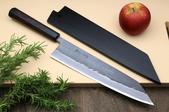 Yoshihiro Kurouchi Black-Forged Blue Steel Stainless Clad Kiritsuke Multipurpose Chef Knife (Shitan Handle)