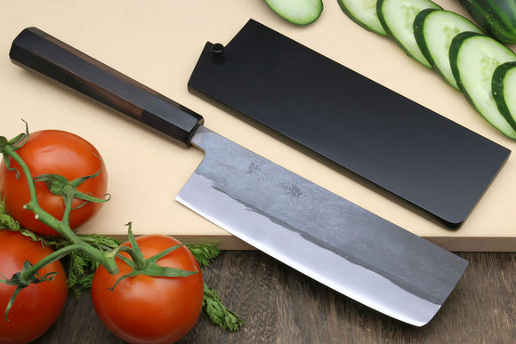 Yoshihiro Kurouchi Black-Forged Blue Steel Stainless Clad Nakiri Japanese Vegetable Knife (Shitan Handle)