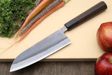 Yoshihiro Kurouchi Black-Forged Blue Steel Stainless Clad Santoku Multipurpose Knife (Shitan Handle)