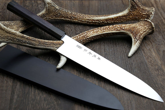 Yoshihiro Inox Honyaki Stain Resistant Steel Wa Gyuto Chef knife Rosewood Handle with Nuri Saya Cover