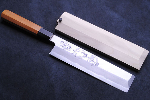 Yoshihiro Artisan Hand Engraved Mizaru, Kikazaru, Iwazaru The Three Wise Monkeys Aonamiuchi Blue Steel#1 Usuba 210mm Japanese Vegetable Chef Knife Octagon Yew Handle