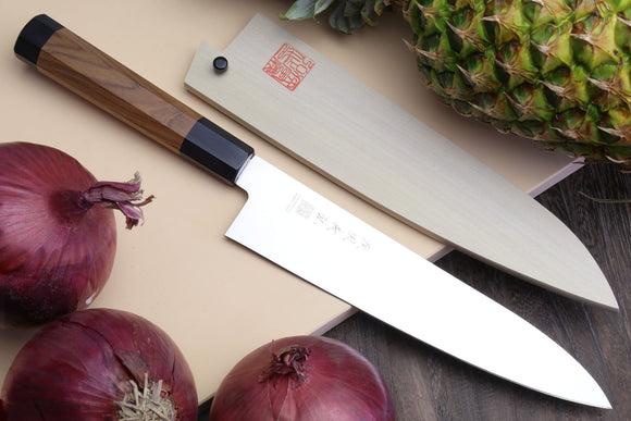 Yoshihiro Ice Hardened Stainless Steel Gyuto Japanese Chef Knife Shitan Rosewood Handle