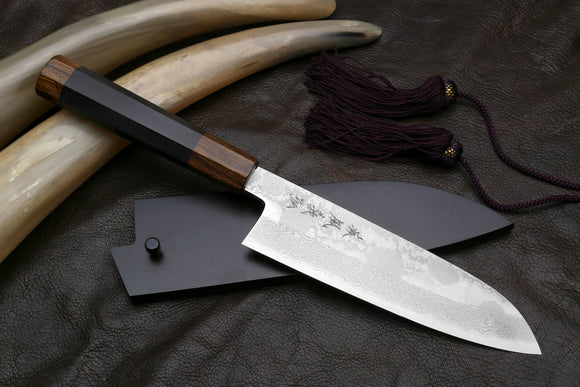 Yoshihiro Hiryu Suminagashi Ginsan High Carbon Stainless Steel Santoku Multipurpose Knife Ebony Handle