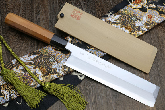 Yoshihiro Aonamiuchi Blue Steel Edo Usuba Japanese Vegetable Knife with Yew Handle